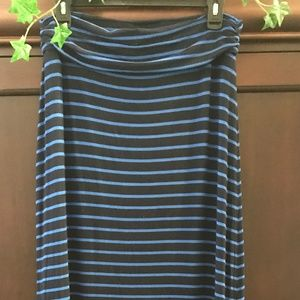 J Crew Navy Light Blue Stripe Tube Maxi Dress S
